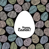 'Happy Easter!' card. Easter eggs with Scratched texture. Stock Images