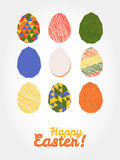 'Happy Easter!' card. Easter eggs with various textures. Royalty Free Stock Photo