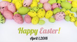 Happy Easter Card with Easter Eggs. Happy Easter Card with  Easter eggs  on a white background  .Easter decoration Royalty Free Stock Photography