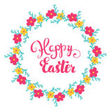 Happy Easter card. Easter vector hand lettering. Hand calligraphy Happy Easter. Stock Photos