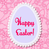 Happy Easter card with egg banner lace Stock Image