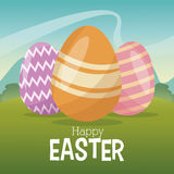Happy easter card egg decoration landscape Royalty Free Stock Photography