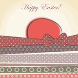 Happy easter card. Easter egg with pattern ribbons Stock Images