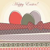 Happy easter card. Easter egg with pattern ribbons Royalty Free Stock Photography