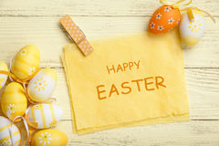 Happy Easter. Card with easter eggs royalty free stock photo