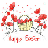 Happy Easter card with eggs and beautiful red flowers. Royalty Free Stock Photo