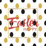 Happy Easter card with eggs on blue background. Vector. stock illustration