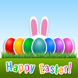 Happy Easter card with eggs and bunny ears. Royalty Free Stock Images