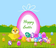 Happy Easter card with eggs and chick Stock Photo