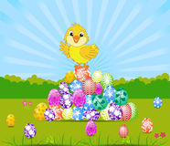 Happy Easter card with eggs and chick Stock Photography