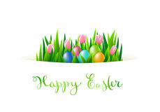 Happy Easter card. With eggs end flowers, vector illustration Stock Image