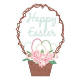 Happy Easter Card with Eggs, Flower Bouquet in Basket Stock Images