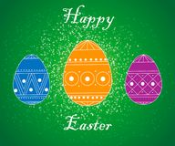 Happy Easter Card with Eggs, Grass, Flowers Bokeh Effect. vector illustration