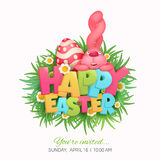 Happy Easter Card with eggs, grass, flowers and pink bunny Stock Photo