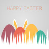 Happy easter card. With eggs in green grass and bunny ears, vector illustration Royalty Free Stock Photos