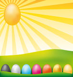 Happy easter card. Happy easter card with eggs in a meadow Royalty Free Stock Photo