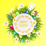 Happy Easter card with eggs, rabbit, spring flowers, green grass and blue sky. Vector illustration Stock Photos