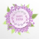 Happy Easter card with eggs, rabbit, spring flowers, green grass and blue sky. Vector illustration Stock Image