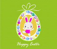 Happy Easter card with eggs and rabbits Royalty Free Stock Images