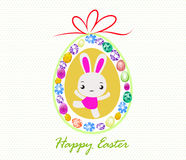 Happy Easter card with eggs and rabbits Stock Image