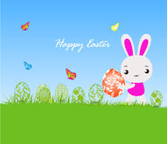 Happy Easter card with eggs and rabbits Royalty Free Stock Photo
