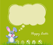 Happy Easter card with eggs and rabbits Royalty Free Stock Photos