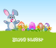 Happy Easter card with eggs and rabbits Stock Photo