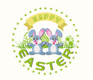 Happy Easter card with eggs and rabbits Stock Photography