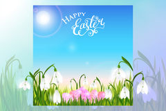 Happy Easter card with eggs, spring flowers, green grass and blue sky. Vector illustration Stock Image