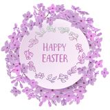 Happy Easter card with eggs, rabbit, spring flowers, green grass and blue sky. Vector illustration Stock Images