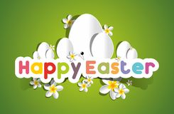 Happy Easter Card With Eggs And Spring Flowers Stock Photography