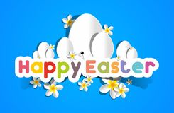 Happy Easter Card With Eggs And Spring Flowers Royalty Free Stock Images