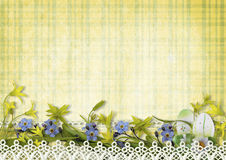 Happy Easter Card with eggs and spring flowers Stock Image