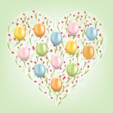 Happy Easter card with eggs on the tulips background. Colored Easter eggs on the background of pink tulips. Heart-shaped tulip. Easter card in pastel colors Royalty Free Stock Images