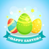 Happy Easter Card with Eggs. Vector illustration in retro cartoon style Stock Images