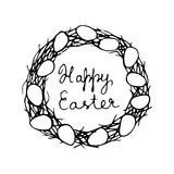 Happy easter card with eggs and wreath. Typographical. Happy easter card with eggs lettering and wreath. Typographical Background. sketch. Hand drawn. Brush pen Royalty Free Stock Photography