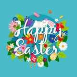 Happy easter card emblem. Happy easter vector card emblem with white bunny, eggs and flowers vector illustration Royalty Free Stock Photo
