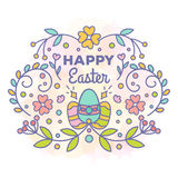 Happy easter card. Floral design with eggs. Vector illustration. Line style Stock Images