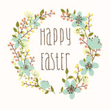 Happy Easter card with floral wreath Royalty Free Stock Photography