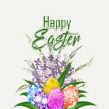 Happy Easter card with flower and eggs Royalty Free Stock Image
