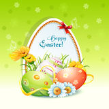 Happy Easter card with flowers and easter eggs-EPS-10 Stock Photo