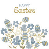 Happy Easter card with flowers and paschal eggs. Royalty Free Stock Photos