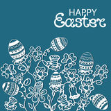 Happy Easter card flowers and paschal eggs Royalty Free Stock Photo