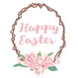 Happy Easter Card with Flowers and Text Stock Images
