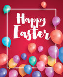 Happy Easter Card with Flying Balloons and White Frame. Stock Image