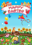 Happy Easter card with funny cats and eggs stock image