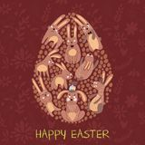Happy easter card in . Funny rabbits in cute cartoon style Royalty Free Stock Photos