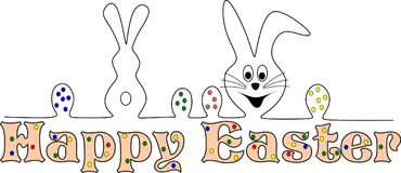 Happy easter card with funy easter bunnies. Illustration of three bunnies with easter eggs and happy easter writing Vector Illustration