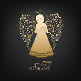Happy Easter card. Golden Angel silhouette with ornamental wings and nimbus. Beautiful praying angel and Happy Easter calligraphy text on a black background Stock Photos