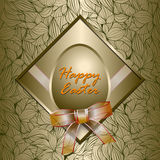 Happy Easter card and Golden structured background Royalty Free Stock Photos